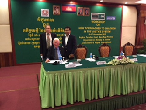 Bill with Alastair Nicholson (seated) and Kimleng at Child Justice seminar Phnom Penh